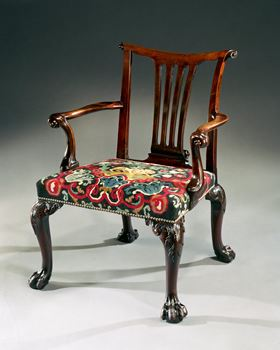 A RARE GEORGE II MAHOGANY OPEN ARMCHAIR