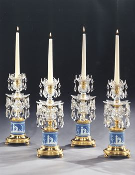 A SET OF FOUR GEORGE III ORMOLU MOUNTED CUT GLASS WEDGWOOD BASE CANDLESTICKS BY WILLIAM PARKER