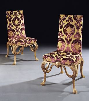 A PAIR OF QUEEN ANNE GESSO SIDE CHAIRS ATTRIBUTED TO JAMES MOORE THE ELDER