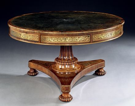 A REGENCY ROSEWOOD DRUM TABLE ATTRIBUTED TO GEORGE AND RICHARD GILLOW