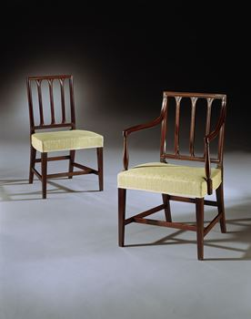 A SET OF EIGHT GEORGE III MAHOGANY DINING CHAIRS