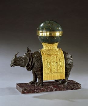 A RARE GEORGE III RHINOCEROS CLOCK BY THOMAS WEEKS