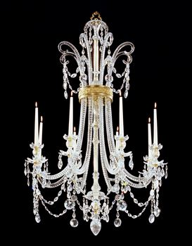 A GEORGE III CUT GLASS AND ORMOLU EIGHT LIGHT CHANDELIER BY MOSES LAFOUNT