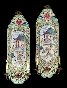 A PAIR OF CHINESE EXPORT FAMILLE ROSE CANTON ENAMEL WALL SCONCES