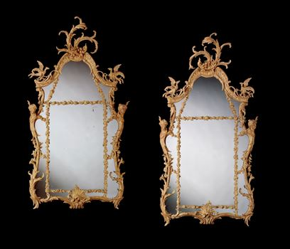 A PAIR OF GEORGE III CARVED GILTWOOD PIER MIRRORS