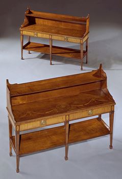 A PAIR OF GEORGE III HAREWOOD SIDE TABLES ATTRIBUTED TO MAYHEW AND INCE