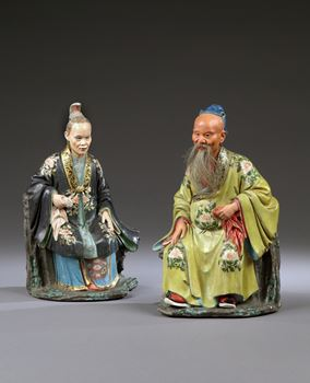 A PAIR OF GEORGE III PERIOD CHINESE EXPORT NODDING FIGURES