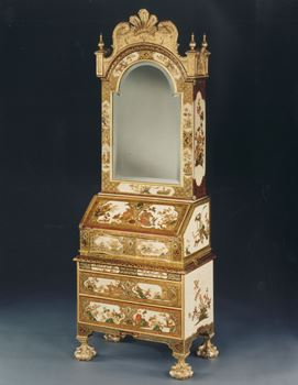 A VERY RARE QUEEN ANNE WHITE JAPANNED BUREAU CABINET OF MINIATURE PROPORTIONS