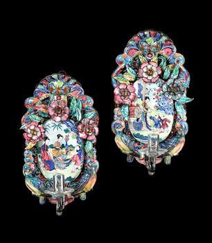 A PAIR OF GEORGE II CHINESE EXPORT CANTON ENAMEL WALL SCONCES