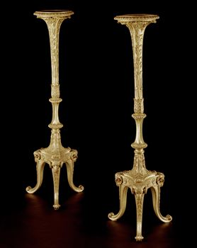 A PAIR OF GEORGE III GILTWOOD TORCHÉRES