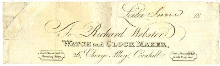 This draft trade-card places Richard Webster at 26 Exchange (Change) Alley © The Trustees of the British Museum