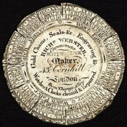 This 19th-century watch paper advertises Richard Webster's business at 43 Cornhill © The Trustees of the British Museum