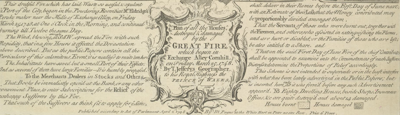 Crop of a map which details the fire which began in Exchange Alley Cornhill, on Friday March 25, 1748 Ⓒ The British Library
