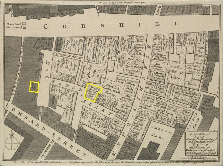 'A New and Correct Plan of all the Houses destroy'd and damaged by the Fire which began in Exchange Alley, Cornhill on Friday March 25, 1748' Webster's shop (left) and the start of the fire are highlighted Ⓒ The British Library