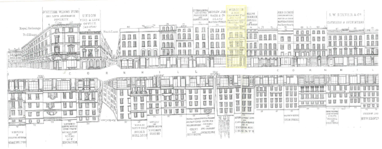 Tallis's London Street Views c. 1838-1840 showing Webster's shop at 74 Cornhill (highlighted)