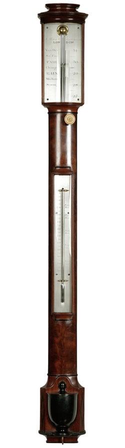 A Fine mahogany bow-fronted stick barometer by Anthony Pastorelli, London. Circa 1830. Raffety Ltd.