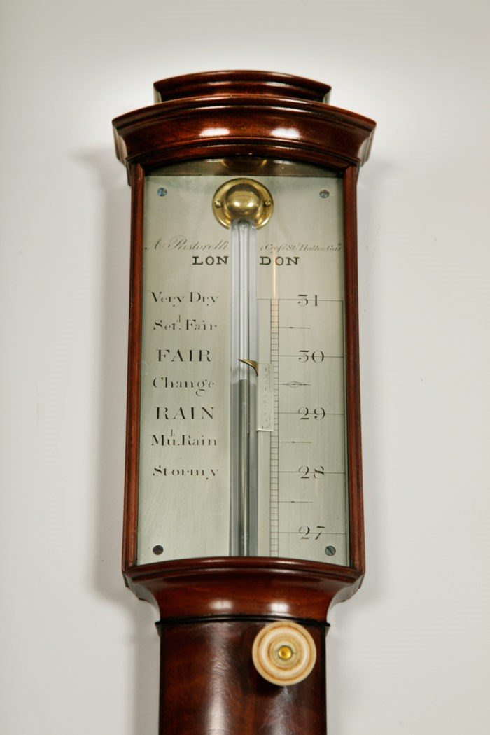 Detail of the engraved scale on barometer by Anthony Pastorelli, London. Raffety Ltd.