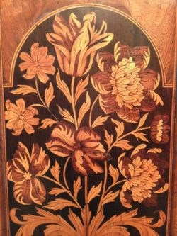 Marquetry panel of tulips and flowers on a longcase clock by Thomas Harris, London. Circa 1690