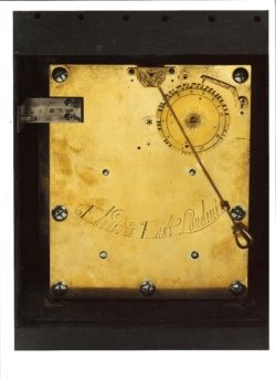 Detail of a backplate on a clock by Edward East, circa 1665-70. This shows the pendulum – a revolutionary technological innovation that first appeared on a working clock in 1656