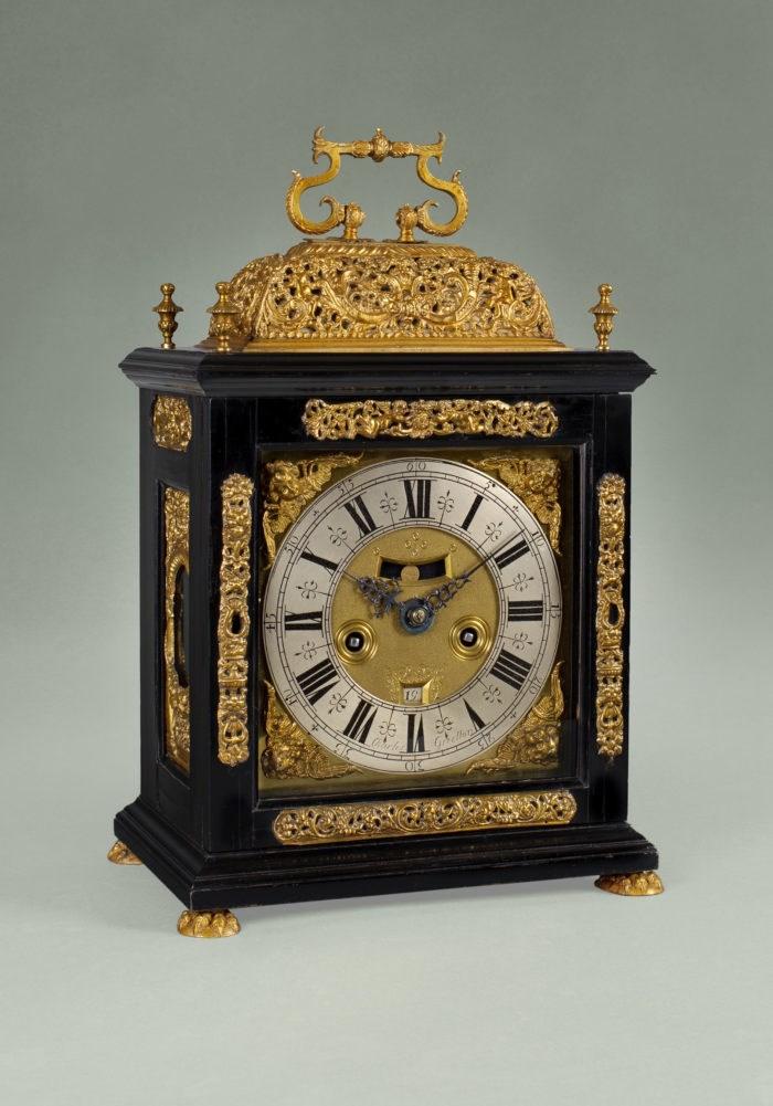 A gilt basket top bracket clock by Charles Gretton, circa 1690-95