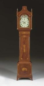 A Mahogany and Marquetry Longcase Clock by Isaac Brokaw, Bridge Town, circa 1790-1810. Photo copyright Christie's (2006).