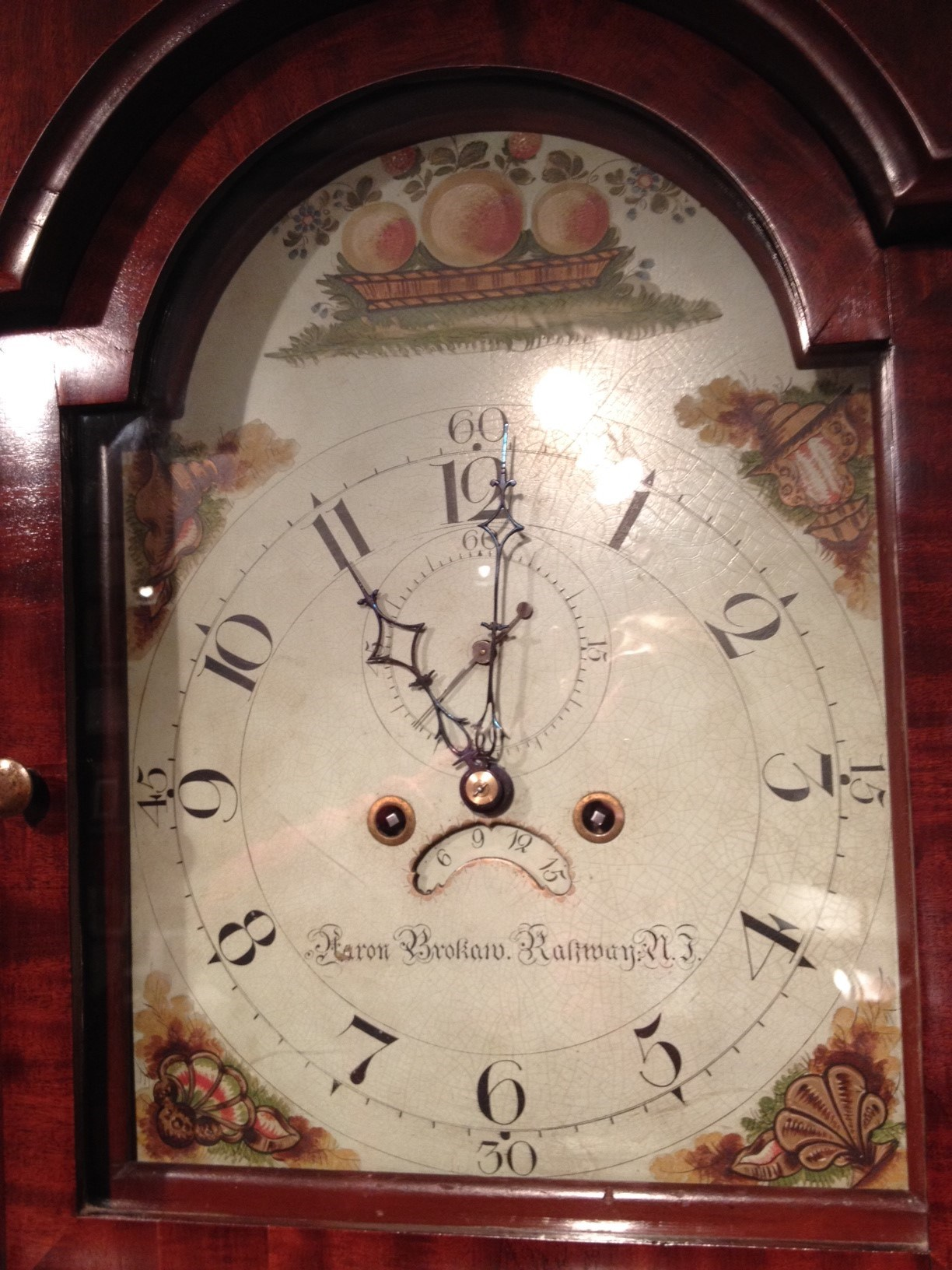 Detail of Painted Dial on Longcase Clock by Aaron Brokaw. Raffety Ltd