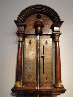 Detail of register plate, stick barometer by John Patrick, London, c 1705. Raffety Ltd.