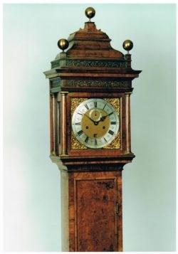 Detail of a walnut longcase clock by Daniel Quare, circa 1705. Raffety Ltd.