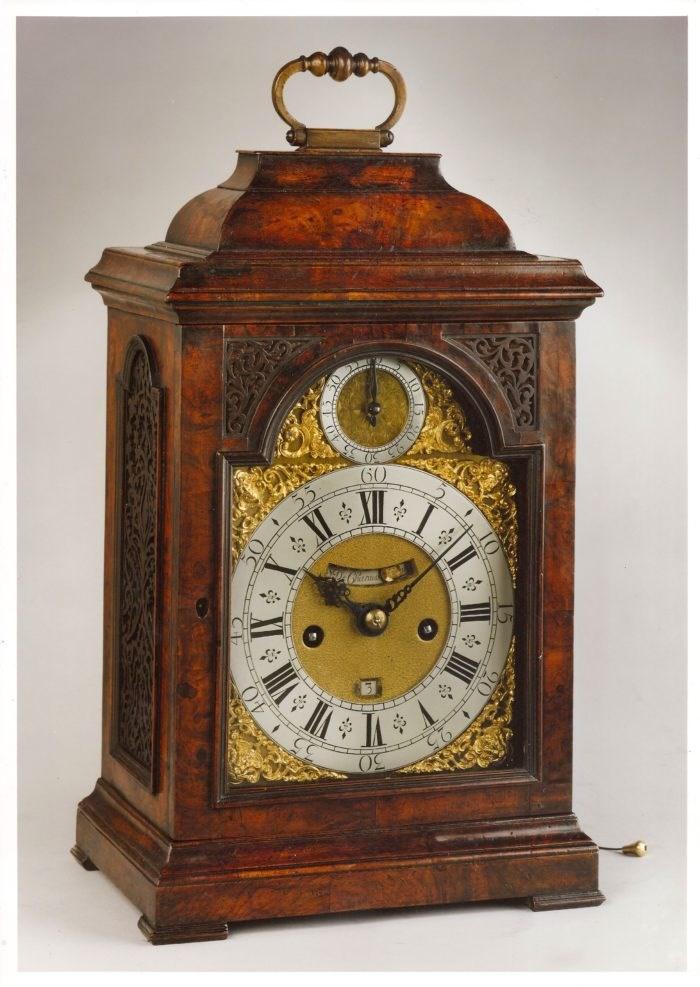 A walnut bracket clock by Simon de Charmes, circa 1730. Raffety Ltd.