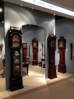 View of the Raffety Fine Antique Clocks stand B16 at Masterpiece Fair 2014. Photo by Stephen Wild