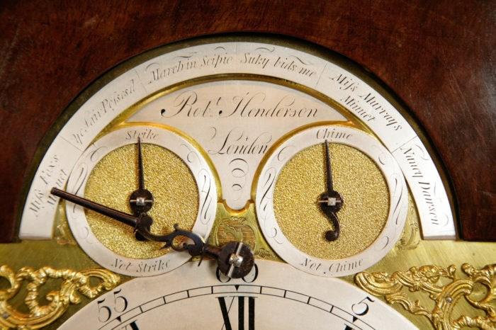 Detail of Henderson Bracket Clock. Raffety Ltd.