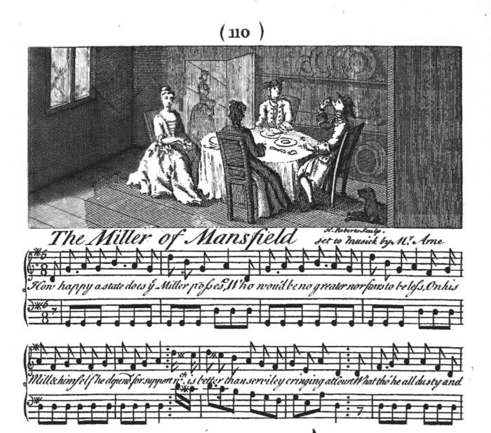 Detail of the Musical Score for the Miller of Mansfield, published in 1739.