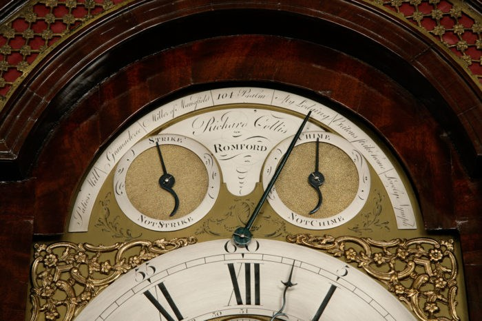 Detail of Dials on the Longcase Clock by Richard Collis. Raffety Ltd.