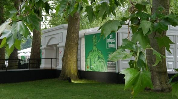 View of the Antique Antiques London Fair Pavilion in Kensington Gardens