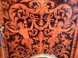 Detail of Queen Anne walnut longcase clock Carolus Cabrier , London. Raffety Ltd.