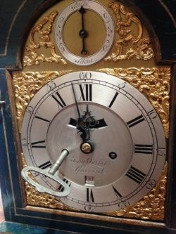 Detail of a clock dial and key on clock by John Parker of Greenwich, circa 1770. Raffety clocks.