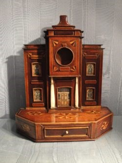 Marquetry Watch Stand in Shape of a Townhouse. Early 19th Century. Raffety Clocks
