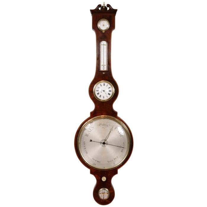 Wheel Barometer with Clock by J Flora, circa 1820. Raffety Clocks