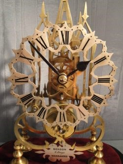 Detail of Skeleton Clock by Benson, late 19th Century. Raffety Clocks