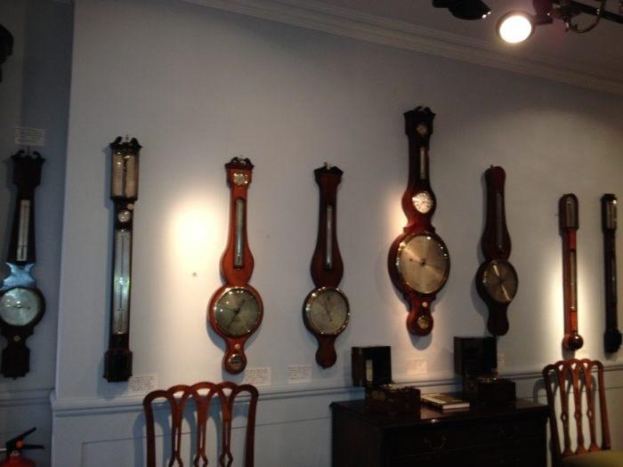View of Barometer Display at Raffety Clocks, 79 Kensington Church Street.