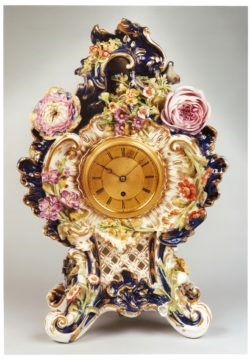 Porcelain Mantel Clock, possibly Coalport, by Adam Thomson, circa 1840. Raffety Clocks