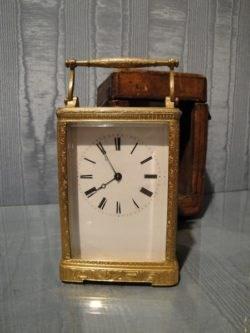 French Gilt Carriage Clock by Auguste of Paris, circa 1875. Raffety Clocks