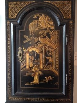 Detail of Lacquer Decoration, with a Figure in a Pavillion with Landscape. Tavern Clock by John Everell, London. Circa 1765. Raffety Ltd.