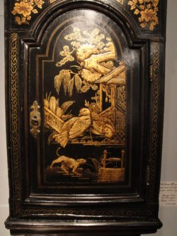Detail of Lacquer Decoration with Animals in a Landscape on a Tavern Clock by John Johnson, London. Circa 1760. Raffety Ltd.