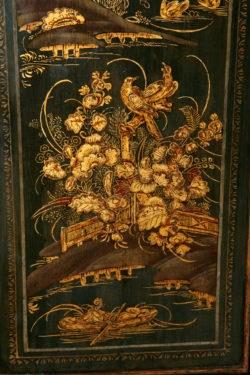 Detail of Ladscape, Birds and Flowers, Monkhouse Longcase Clock. Raffety Ltd