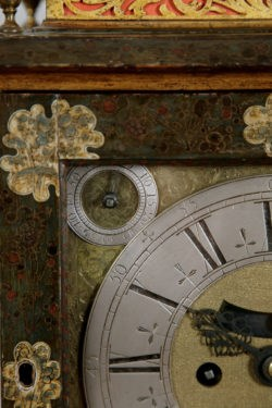 Detail of the Lacquer and Clockface of the Simon du Charmes Bracket Clock. Raffety Ltd