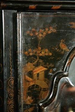 Detail of Lacquerwork on Queen Anne Corner Cabinet. Raffety Ltd.
