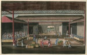 Chinese and European Traders Doing Business. Early 19th Century Print.
