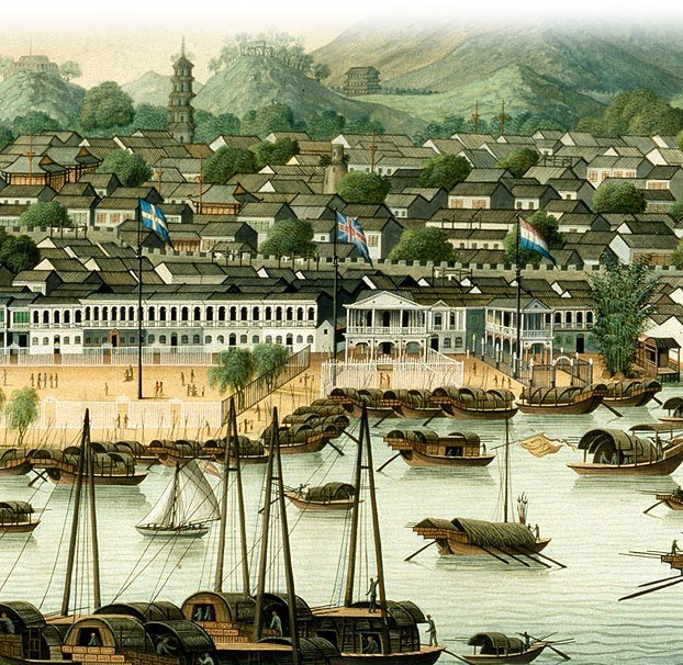 View of the Trading Port of Canton in the Early 19th Century.