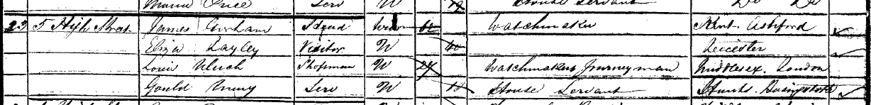 Detail of James Gorham's household entry in the 1851 Census.